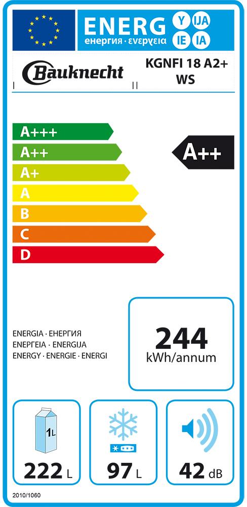 Bauknecht Kgnfi 18 A2 Ws Kühl Gefrierkombination Kühlschrank